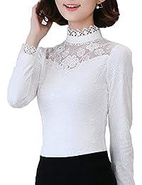 Cheerlife Elegant Damen Langarmshirt Bluse mit Floraler Spitze T-Shirt  Spitzenshirt Top Bluse Shirt Tunika 535407f5fe