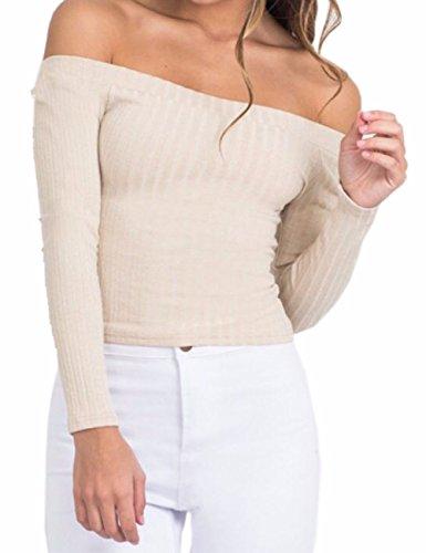 EMMA Damen Sexy Strapless Schulterfrei Sweater langarm Strick Oberteile Knitwear einfabrig trägerlos Crop Top Plus Size(BW,2XL)