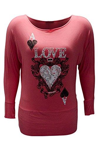 Damen Übergröße Wahre Liebe Herzdruck Hemd Nouvelle Koralle