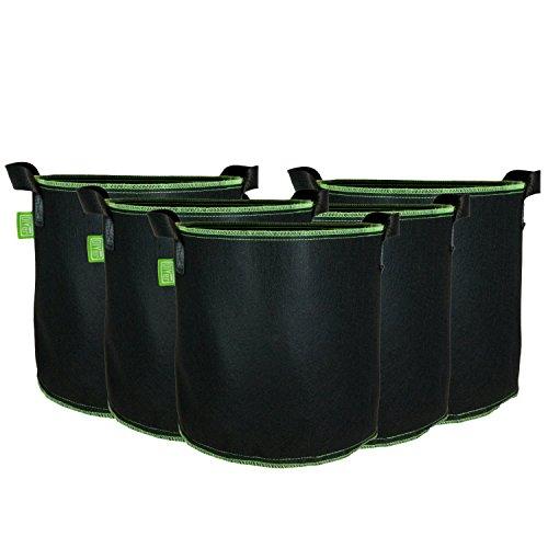 DIYer Pflanzsack aus Vliesstoff - 7 Gallonen, ca. 27 Liter - 5er Pack Pflanztasche Kartoffelsack Pflanzbeutel - Die gesunde Alternative