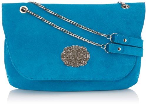Sous Les Pavés Manhattan, Damen Tasche Blau (velours Turquoise/argent)