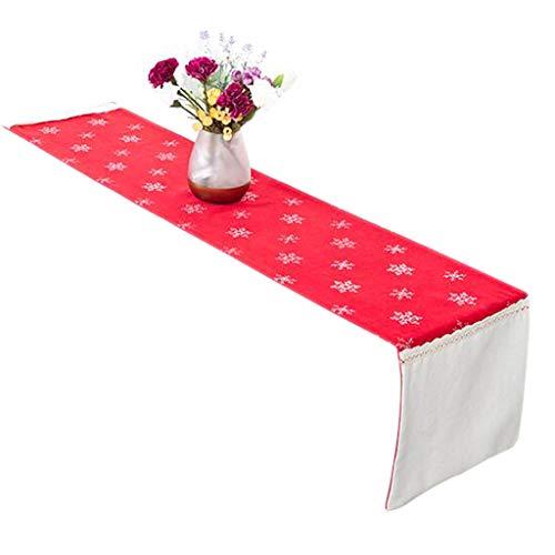 FJH Chemin de table Tableau rouge Drapeau En Tissu Flocon De Neige Broderie Mode Simple Lit Café Nordique Mariage Hôtel Banquet Décoration 30 cm * 150 cm (taille : 200cm)