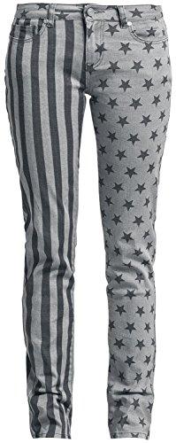 R.E.D. by EMP Stars and Stripes Pants (Slim Fit) Pantaloni donna nero/grigio W31L34