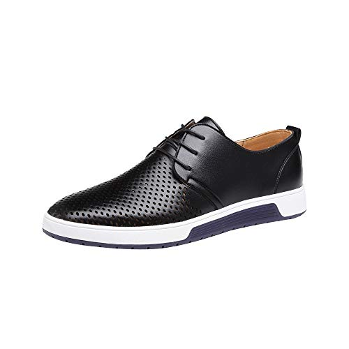 koperras Mens Hollow Leather Shoes, Men's Lightweighr Breathable Business Leisure Hollow Lace Up Shoes(US 9,Black)