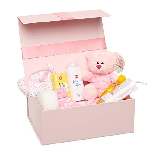Shower Baby Party Geschenke und das Notwendig-ste für Neugeborene - Neugeborenen Set Mädchen - Teddybär und rosa Aufbewahrungsbox inklusive - Baby Geschenk Mädchen ()