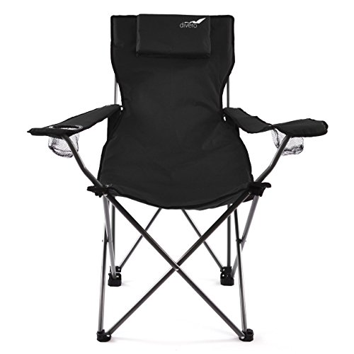 Divero Camping Stuhl Faltstuhl Angelstuhl schwarz Kopfkissen Getränke robust bis 130 kg
