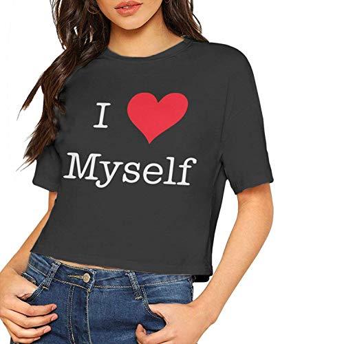 Frauen Casual Kurzarm T Shirts Ich Liebe Mich Gedruckt Bluse Tops T Nabel (Klein, Schwarz)