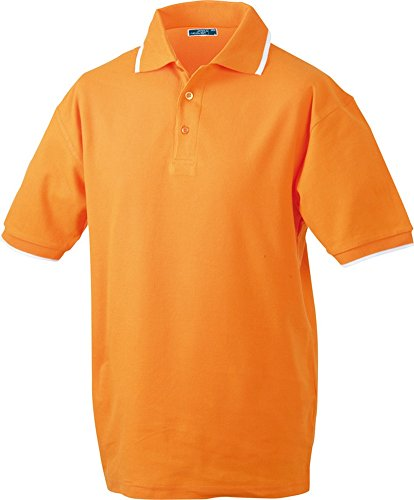 Polo Tipping (S - 3XL) Orange/White