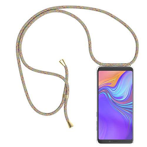 EAZY CASE Handykette kompatibel mit Samsung Galaxy A9 (2018) Handyhülle mit Umhängeband, Handykordel mit Schutzhülle, Silikonhülle, Hülle mit Band, Stylische Kette mit Hülle für Smartphone, Rainbow