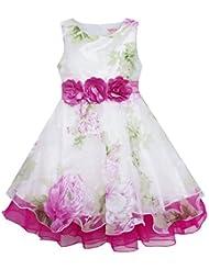Sunny Fashion Robe Fille Tulle De mariée Dentelle avec Fleur Détailler Mariage