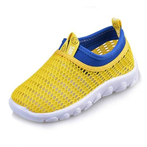 Scarpe Sportive Ragazzi Scarpe da Corsa Ginnastica Respirabile Mesh Running Sneakers Trail Trekking Fitness Casual - Scarpe A Rete per Bambini Unisex(26,Giallo)