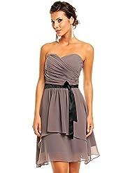 Chiffon Kleid mit Herzausschnitt und Gürtel, Cocktailkleid Abendkleid kurz