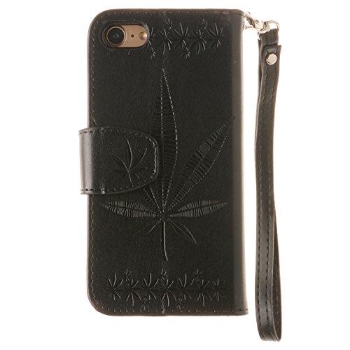 Voguecase Pour Apple iPhone 7 4,7 Coque, Étui en cuir synthétique chic avec fonction support pratique pour Apple iPhone 7 4,7 (Maple Leaf-Noir)de Gratuit stylet l'écran aléatoire universelle Maple Leaf-Noir
