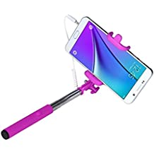 Malloom® Mini portátil Palo Selfie extensible Fold Autorretrato Holder palillo Monopod (rosa fuerte)
