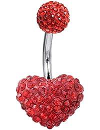 Piercing nombril en cristal en forme de coeur - © Bodytrend - Bijou de corps - Fait à la main et entretenu avec soin. La tige est en acier chirurgical 316L - 1.6mm x 10mm x boule en cristal de 6mm…