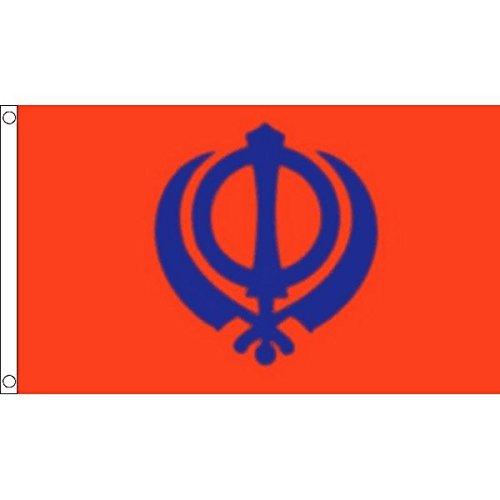 FLAGGE SIKH-RELIGION 90x60cm - SIKHISMUS FAHNE 60 x 90 cm - flaggen AZ FLAG Top Qualität