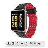 LMtt Fitness Tracker, presión Arterial Reloj Inteligente Hombres frecuencia cardíaca Reloj de Pulso medidor de natación Pulsera Impermeable Bluetooth Reloj para WOM,Red