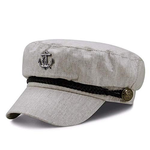 MLL Atmungsaktive Flachhaube Aus Baumwolle Und Leinen - Retro-Marine-Kappe Für Männer Und Frauen - Studentenkappe Kurze Kappe,grau,A