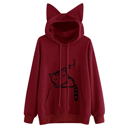 llis Kapuzepullover Damen Print Langarm Jumper Hoodie Winter Herbst Pullover Langarmshirt Tops Bluse LMMVP (Rot, M) (Mädchen Mit Katze Kostüm)