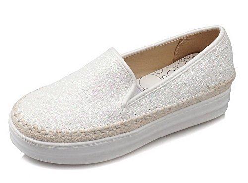 AllhqFashion Femme Tire Tissu à Paillette Couleur Unie Rond Chaussures Légeres Blanc
