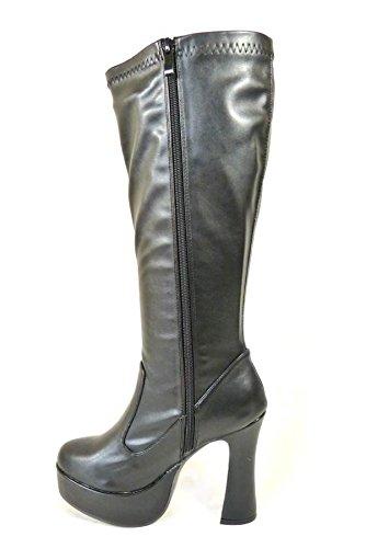 Bottes de go-go pour femme Pour déguisement années 1960/70 Style Rétro Black Matt (11827)