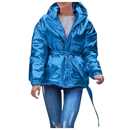 Makefortune - 2019 New Womens Ladies Quilted Wintermantel Puffer Hoher Kragen Kapuzenjacke Button Down Jacken Parka mit Taillenband Größe -
