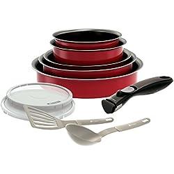 Backen 181003 -Set de poêles et casseroles -10 Pièces Rouge -Tous feux dont induction