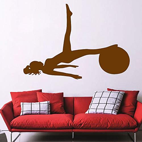 Ajcwhml Wandaufkleber Yoga Sport Gym Wandtattoo Art Wohnmobil Dekoration Silhouette Vinylkleber Papier 29cmx41cm -