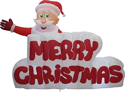 XXL LED WEIHNACHTSMANN + Merry Christmas Schriftzug~120 cm hoch~AUFBLASBAR~SELBSTAUFBLASEND~Inflatable~LED BELEUCHTET~Garten DEKO Figur~AIR Blown~WEIHNACHTSDEKO~WEIHNACHTSMANN~AIRBLOWN~AUFBLASBAR