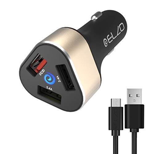 ELZO Auto Ladegerät, 42W 3-Port (One Quick Charge 3.0 Port and 2 Smart Ports) USB Kfz Ladegerät Mini Auto Ladeadapter für iPhone X / 8/8 Plus / 7/ X/XS/XR/XS Max, iPad Air/Pro/Mini, Samsung (Usb-auto-ladegerät 3-port)