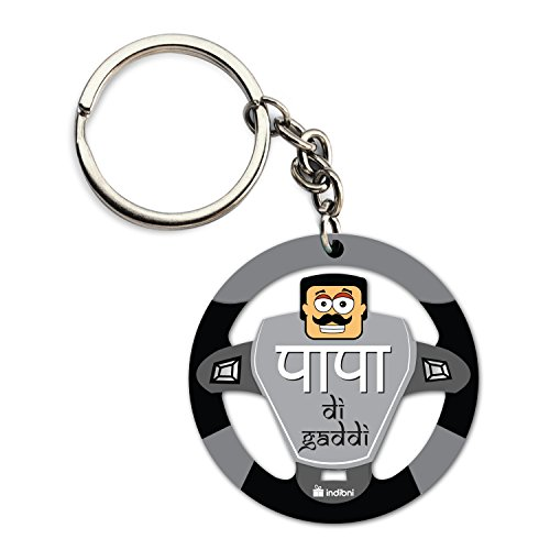Gift for Dad Father Birthday Anniversary Fathers Day Round Steering Wheel Shaped Grey Papa Di Gaddi Car Keychain Car Decor Everyday Gifting