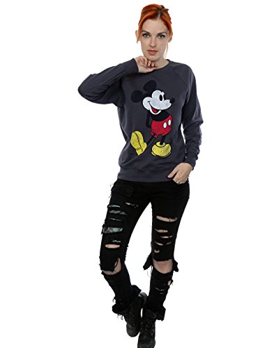 Disney Damen Mickey Mouse Classic Kick Sweatshirt Dunkle Heather