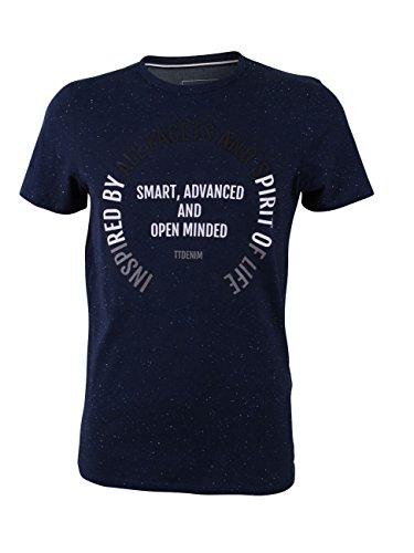 Tom Tailor Denim Herren T-Shirt Crewneck mit Print Black Iris Blue (6740)