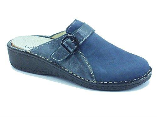 Pantofole per donna Cinzia Soft in pelle e nabuk blu sottopiede estraibile (Taglia 38)