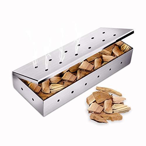 BACKTURE Smoker Räucherbox,Edelstahl Grillzubehör für Gasgrill Kohlegrill und Kugelgrill Aromabox Maße für Gas- und Holzkohlegrills (22,7x9,5x4)