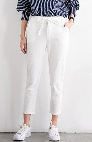 ONECHANCE Damen Leinen Baumwollmischung Elastische Taillenfüße Drawstring Capri Hosen Weiß