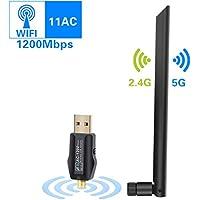 ODLR Clé WiFi Dongle USB 3.0 sans Fil 1200Mbps 5dBi Double Bande (2.4G/300Mbps + 5G/867Mbps) Antenne WiFi Adaptateur pour Windows XP/VISTA/7/8/8.1/10 Linux Mac OS