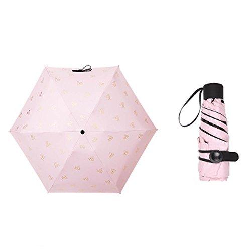 Black Temptation Reise Fünf Faltbarer Regenschirm Winddicht Leicht mit Anti-UV/Slip Griff, Schmetterling, Pink