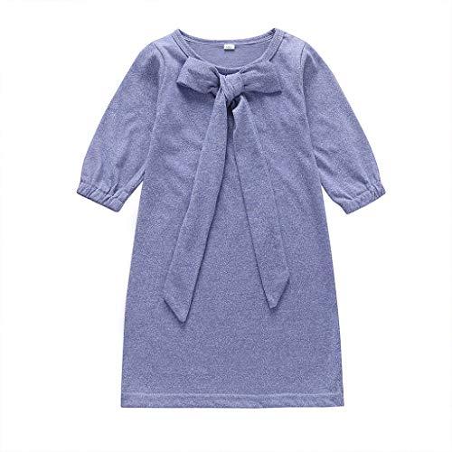 Livoral Mädchen Tägliches Kleid Baby Baby Kind Mädchen Langarm Baumwolle Einfarbig Spitze Bogen Herbst Kleid(Lila,3-4 Jahre)