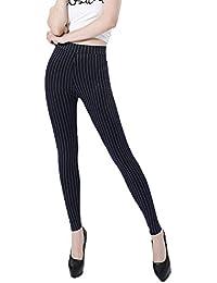 Rayas Verticales Legging Mantener Elástica Pantalones Térmicos Apretado  Delgado para Mujer 78fa5a29b580