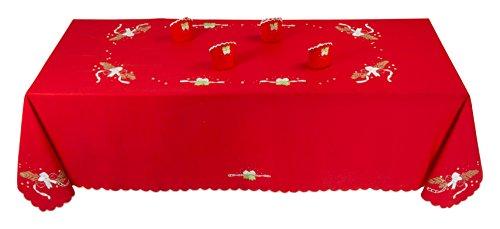 Tovaglia natalizia rossa linea cadeau de noel 100% puro cotone 155x220cm