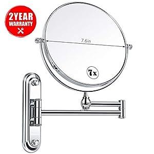 Kosmetikspiegel , Homever 1-/ 7-facher Vergrößerung aus Kristallglas, Edelstahl und Messing, Doppelseitig, 360°Drehbarer, für Badezimmer, Kosmetikstudio, Spa und Hotel