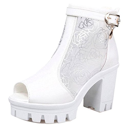 TAOFFEN Femmes Peep Toe Sandales Chaussures white