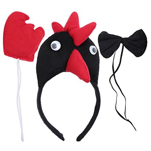 BESTOYARD Kinder Kostüme Huhn Kopf Stirnband Tier Schwanz Fliege für Cosplay Halloween Party Favors 3 Stück (Schwarz)