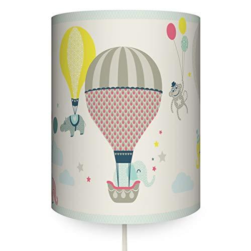 anna wand Wandlampe HOT AIR BALLOONS TAUPE/BLAU/KORALLE - Runder Wandlampenschirm mit Stoffkabel zum Aufhängen für Kinder/Baby Heißluftballon Lampe - Sanftes Licht im Kinderzimmer Mädchen & Junge