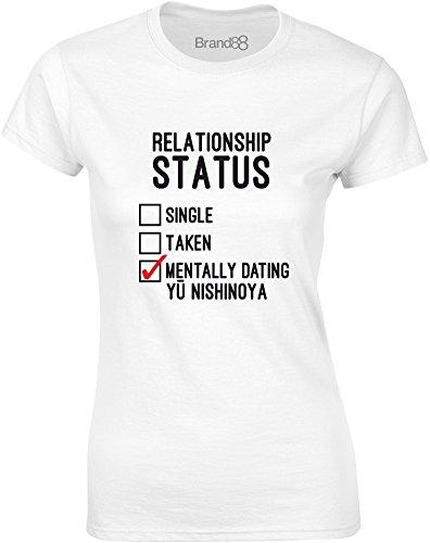 Brand88 - Mentally Dating Yu Nishinoya, Gedruckt Frauen T-Shirt Weiß/Schwarz/Rote