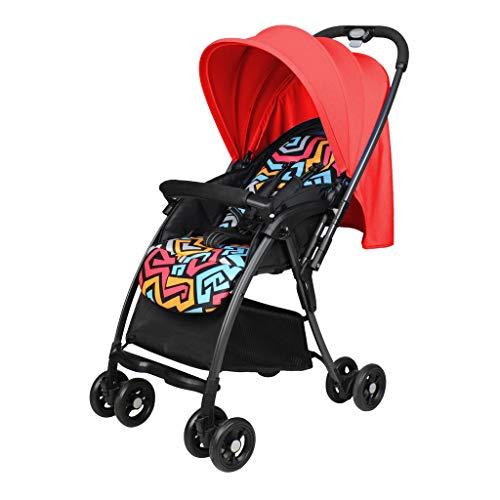BLWX - La Poussette Ultra légère de Parapluie de bébé Peut asseoir la Poussette inclinable de Choc Se Pliant en Hiver et en été la Poussette de Chariot Poussette (Couleur : Red)