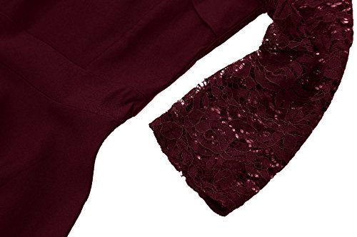 Gigileer Damen Kleider 3/4 Arm mit Spitzen Knielang Abendkleid Minikleid festlich Cocktail Party Burgundy M - 5