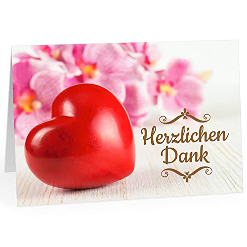 Große Dankeskarte XXL (A4) als Dankeschön/Großes Herz rot, Herzlichen Dank/mit Umschlag/Edle Design Klappkarte/Danke sagen/Danksagung/Danke sehr/Extra Groß/Edle Maxi Gruß-Karte (Große Danke-karte)