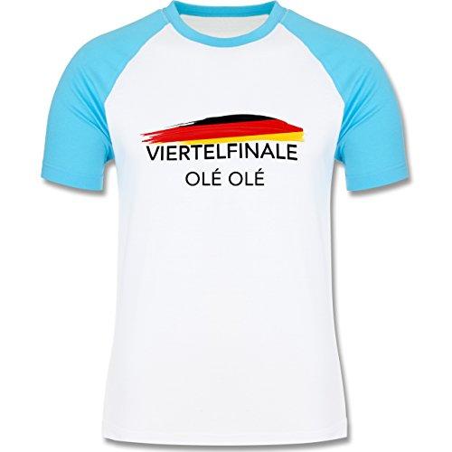 EM 2016 - Frankreich - Deutschland Viertelfinale Olé Olé - zweifarbiges Baseballshirt für Männer Weiß/Türkis